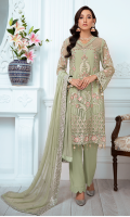 EMBROIDERED CHIFFON FRONT WITH H.M WORK 1 YDS  EMBROIDERED CHIFFON BACK 1 YDS EMBROIDERED CHIFFON SLEEVES 0.67 YDS  EMBROIDERED GHERA LACE 2 YDS  EMBROIDERED SLEEVE LACE 1 YDS  EMBROIDERED CHIFFON DUPATTA 2.5 YDS  GRIP SILK TROUSER 2.5 YDS