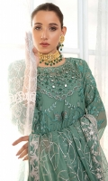 EMBROIDERED CHIFFON FRONT WITH H.M WORK 1YDS  EMBROIDERED CHIFFON BACK 1YDS EMBROIDERED CHIFFON SLEEVES 0.67 YDS  EMBROIDERED GHERA LACE 2 YDS  EMBROIDERED CHIFFON DUPATTA 2.5 YDS  EMBROIDERED TROUSER LACE 2 YDS  GRIP SILK TROUSER 2.5 YDS