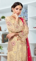 EMBROIDERED CHIFFON FRONT WITH H.M WORK 1 YDS  EMBROIDERED CHIFFON BACK 1 YDS EMBROIDERED CHIFFON SLEEVES 0.67 YDS  EMBROIDERED GHERA LACE 2 YDS  EMBROIDERED SLEEVES LACE 1YDS  EMBROIDERED CHIFFON DUPATTA 2.5 YDS  GRIP SILK TROUSER 2.5 YDS