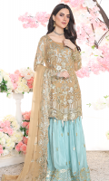 EMBROIDERED CHIFFON FRONT WITH HANDMADE 1 YDS EMBOIDERED CHIFFON BACK 1 YDS EMBOIDERED CHIFFON SLEEVES 0.67YDS EMBOIDERED GHERA LACE 2 YDS EMBOIDERED SLEEVES LACE 1 YDS EMBOIDERED CHIFFON DUPATA 2.5 YDS GRIP SILK TROUSER 2.5YDS