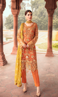 EMBROIDERED CHIFFON FRONT WITH HANDMADE WORK  1 YD  EMBROIDERED CHIFFON BACK    1 YD  EMBROIDERED CHIFFON SLEEVES WITH HANDMADE WORK  0.67 YD  EMBROIDERED MOTIF FOR FRONT    1 PCS  EMBROIDERED MOTIF FOR BACK  1 PCS  EMBROIDERED SLEEVES LACE  1 YD  EMBROIDERED CHIFFON  DUPATTA    2 .50 YDS  GRIP SILK TROUSER    2.5 YDS