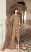 EMBROIDERED CHIFFON FRONT WITH HANDMADE WORK 1 YD  EMBROIDERED CHIFFON BACK  1 YD  EMBROIDERED CHIFFON SLEEVES WITH H.M WORK    0.67 YDS  EMBROIDERED SLEEVE LACE  1 YD  EMBROIDERED CHIFFON DUPATTA    2.5 YDS  GRIP SILK TROUSER   2.5 YDS