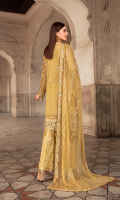 EMBROIDERED CHIFFON FRONT WITH HANDMADE WORK  1 YD  EMBROIDERED CHIFFON BACK  1 YD  EMBROIDERED AURGENZA SLEEVES WITH HANDMADE WORK  0.67 YD  EMBROIDERED GHERA LACE  2 YDS  EMBROIDERED SLEEVE LACE  1 YDS  \EMBROIDERED CHIFFON DUPATTA   2.5 YDS  EMBROIDERED GRIP SILK TROUSER   2.5 YDS