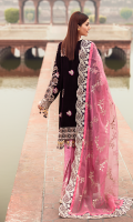 EMBROIDERED MICRO VELVET FRONT WITH H.M WORK1 YDS  EMBROIDERED MICRO VELVET BACK 1 YDS EMBROIDERED MICRO VELVET SLEEVES WITH H.M WORK 0.67 YDS  EMBROIDERED SLEEVES LACE  1 YDS  EMBROIDERED AURGENZA DUPATTA 2.5 YDS EMBROIDERED LACE ON DUPATTA AS FULL BORDER 8.50 YDS  EMBROIDERED GRIP SILK TROUSER 2.5 YDS