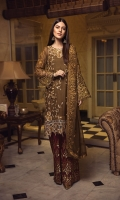 EMBROIDERED CHIFFON FRONT WITH 3D FLOWERS  EMBROIDERED GALA WITH 3D FLOWERS 1 PCS  EMBROIDERED CHIFFON BACK 1 YDS  EMBROIDERED CHIFFON SLEEVES WITH HANDMADE WORK 0.67 YDS  EMBROIDERED GHERA LACE 2 YDS  EMBROIDERED SLEEVE LACE WITH CUT WORK 1 YDS  EMBROIDERED CHIFFON DUPATTA 2.5 YDS  EMBROIDERED GRIP SILK TROUSER