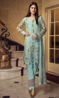 EMBROIDERED CHIFFON FRONT WITH HANDMADE WORK  EMBROIDERED CHIFFON BACK  EMBROIDERED CHIFFON SLEEVES  EMBROIDERED GHERA LACE EMBROIDERED SLEEVES LACE  EMBROIDERED CHIFFON DUPATTA  EMBROIDERED GRIP SILK TROUSER
