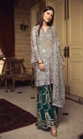EMBROIDERED CHIFFON FRONT WITH HANDMADE WORK EMBROIDERED CHIFFON BACK EMBROIDERED CHIFFON SLEEVES EMBROIDERED GHERA LACE EMBROIDERED SLEEVE LACE EMBROIDERED CHIFFON DUPATTA EMBROIDERED GRIP SILK TROUSER