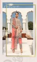 Embroidered Chiffon Front With Handmade Work  Embroidered Chiffon Back  Embroidered Chiffon Sleeves Crystal Stone  Embroidered Ghera Lace  Embroidered Sleeves Lace  Embroidered Chiffon Dupatta Grip Silk Trouser  Embroidered Lace Trouser