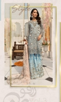 Embroidered Chiffon Front With Handmade Work  Embroidered Gala With Handmade Work  Embroidered Chiffon Back  Embroidered Chiffon Sleeves With Handmade Work  Embroidered Ghera Lace  Embroidered Sleeve Lace  Embroidered Chiffon Dupatta  Embroidered Grip Silk Trousert