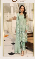 Embroidered Chiffon Front With Handmade Work  Embroidered Chiffon Back  Embroidered Chiffon Sleeves With Stone Work  Embroidered Ghera Lace  Embroidered Sleeve Lace  Embroidered Chiffon Dupatta  Embroidered Trouser Lace Grip Silk Trouser