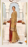 Embroidered Chiffon Front With Handmade Work  Embroidered Chiffon Back  Embroidered Chiffon Sleeves With Stone Work  Embroidered Ghera Lace  Embroidered Sleeves Lace  Embroidered Chiffon Dupatta  Embroidered Grip Silk Trouser