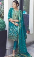 2.5 Meters Printed Lawn Shirt with Embroidered Neckline (Wider Width)  2.5 Meters Dyed Jacquard Bottom  2.5 Meters Printed Lawn Zari Kinara Dupatta  Fabric: Printed Lawn & Jacquard