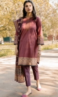 Printed Doria Lawn Shirt with Embroidered Neckline, Dyed Cambric Bottom, Printed Voile Slub Dupatta
