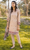 Printed Lawn Shirt with Embroidered Front, Dyed Cambric Bottom, Printed Cotton Net Dupatta