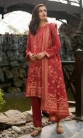 Yarn Dyed Jacquard Shirt with Embroidered Neckline, Yarn Dyed Jacquard Dupatta