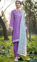 Printed Lawn Shirt, Dyed Cambric Bottom, Printed Lawn Dupatta, Crystal bead Sequins & Lace for Embellishment