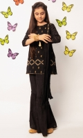 Cotton Booty Embroidered Top, Raw Silk Bottom, Cotton Crushed Dupatta