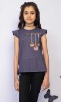 Embroidered Gathered Top With Contrasting Trims, Fabric: Doria