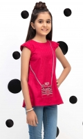 Embroidered Short Top With Pleated Cap Sleeves, Fabric: Dobby