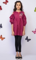 Cold shoulder Front Open Embroidered Top With Ruffled Amholes And Contrasting Embellishment, Fabric: Doria