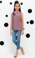 Embroidered Short Top With 3d Flower Embellishment, Fabric: Dobby