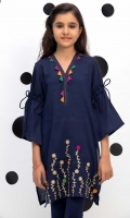 Embroidered Top With Contrasting Trims And Drawstring Sleeves, Fabric: Dobby