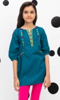 Short Top With Embroidered Neck And Multi Colored Trims, Fabric: Self Jacquard