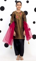 Embroidered Top Stylized With Gota Lace, Embellished Organza Crushed Dupatta, Fabric: Tissue Zari/Organza