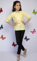 Embroidered Top With 3d Embellishment And Contrasting Trims, Fabric: Dobby