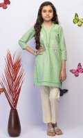 Embroidered Top With Embellished Neckline And Scalloped Sleeves, Fabric: Zari Stripes