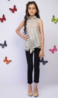 Embroidered Top With Embellished Neckline And Front Knot, Fabric: Doria
