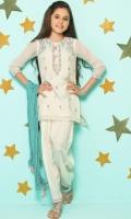 Striped Karandi Embroidered Top  Raw Silk Embroidered Shalwar  Cotton Crush Embellished Dupatta