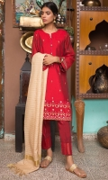 Embroidered Shirt, Yarn Dyed Cotton Silk, Dyed Khaddi Net Dupatta