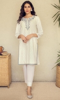 Stitched 1 Piece Embroidered White past Lawn Shirt, Embroidery at Neckline ,Side placket