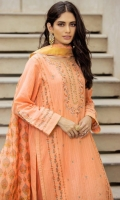 2.5 Meters Dyed Doria Lawn Shirt with Embroidered Neckline, Front, Sleeves & Borders, 2.5 Meters  Slub Dupatta, 2 Meters Dyed Cambric Bottom