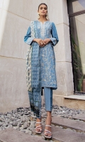 2.35 Meters Dyed Textured Slub Lawn Shirt with Embroidered Front & Sleeves Borders, 2.5 Meters Printed Voile Slub Dupatta, 2 Meters Dyed Cambric Bottom