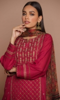 2.5 Meters Dyed Doria Lawn Shirt with Embroidered Neckline, Front & Sleeves Borders, 2.5 Meters Digital Printed Chiffon Dupatta, 2 Meters Dyed Cambric Bottom.