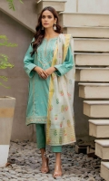 2.5 Meters Dyed Doria Shirt with Embroidered Neckline, Front & Borders, 2.5 Meters Slub Dupatta, 2 Meters Dyed Cambric Bottom