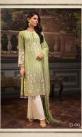 LIGHT GREEN ALL OVER EMBROIDERED LUXURY CHIFFON ENSEMBLE PAIRED WITH CONTRASTING DYED TROUSERS EMBROIDERED DUPATTA