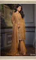GOLD ALL OVER EMBROIDERED LUXURY CHIFFON ENSEMBLE PAIRED WITH MATCHING DYED TROUSERS EMBROIDERED DUPATTA