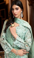 EMBROIDERED CHIFFON FRONT WITH HANDMADE WORK 1 YD  EMBROIDERED CHIFFON BACK 1 YD  EMBROIDERED CHIFFON SLEEVES 0.67 YD  EMBROIDERED GHERA LACE 2 YDS  EMBROIDERED SLEEVE LACE 1 YD  EMBROIDERED CHIFFON DUPATTA 2.5 YDS  GRIP SILK TROUSER 2.5 YDS