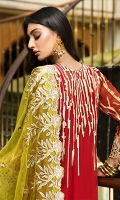 EMBROIDERED CHIFFON FRONT WITH HANDMADE WORK 1 YD  EMBROIDERED GALA WITH HANDMADE WORK 1 PC  EMBROIDERED CHIFFON BACK 1 YD  EMBROIDERED CHIFFON SLEEVES 0.67 YD  EMBROIDERED GHERA LACE FOR FRONT 1 YD  EMBROIDERED GHERA LACE FOR BACK 1 YD  EMBROIDERED SLEEVES LACE 1 YD  EMBROIDERED CHIFFON DUPATTA 2.5 YDS  GRIP SILK TROUSER 2.5 YDSZR