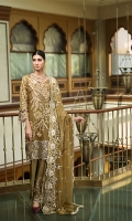 EMBROIDERED CHIFFON FRONT WITH HANDMADE WORK 1 YD  EMBROIDERED CHIFFON BACK 1 YD  EMBROIDERED CHIFFON SLEEVES 0.67 YD  EMBROIDERED GHERA LACE 2 YDS  EMBROIDERED SLEEVES LACE 1 YD  EMBROIDERED CHIFFON DUPATTA 2.5 YDS  EMBROIDERED GRIP SILK TROUSER 2.5YDS