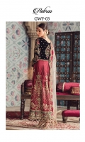 Adda-worked, embroidered & sequined velvet front bodice Embroidered & sequined velvet back bodice Embroidered & sequined velvet sleeves Embroidered & sequined katan silk panels for front lehnga Embroidered & sequined katan silk panels for back lehnga Embroidered & sequined raw silk border for front Embroidered & sequined raw silk border for back Embroidered & sequined raw silk border for sleeves Adda-worked, embroidered & sequined velvet neckline Hand-embellished, embroidered & sequined velvet motif for back bodice Crystal embellished net dupatta Embroidered & sequined silk border for dupatta Embroidered & sequined net border for dupatta pallu Dyed raw silk trouser Dyed inner shirt lining