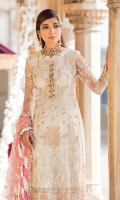 Adda-worked, embroidered & sequined net front Embroidered & sequined net side panel Embroidered & sequined net sleeves Embroidered & sequined net back Embroidered & sequined net border for shirt front Embroidered & sequined net dupatta Embroidered & sequined net dupatta pallu Embroidered & sequined silk border for dupatta pallu Dyed raw silk trouser Dyed inner shirt lining