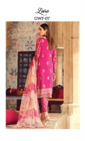 Adda-worked, embroidered & sequined grip shirt Embroidered & sequined grip side panel Embroidered & sequined grip sleeves Embroidered & sequined grip back Embroidered & sequined grip patch for neckline Embroidered & sequined grip border for shirt front Embroidered & sequined grip border for shirt back Embroidered & sequined grip border for shirt sleeves Tri-tone chatta patti net dupatta Dyed gold jacquard trouser Dyed inner shirt lining