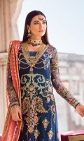 Embroidered & sequined net front bodice Embroidered & sequined net back bodice Embroidered & sequined net sleeves Adda-worked, embroidered & sequined net front panel Embroidered & sequined net side panel Embroidered & sequined net back panel Dyed gold zari organza dupatta Embroidered & sequined organza pallu for dupatta Embroidered & sequined net border for front panel Embroidered & sequined net border for back panel Embroidered & sequined border for front bodice Embroidered & sequined net motif for sleeves Dyed raw silk trouser Dyed inner shirt lining
