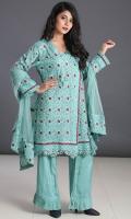 Embroidered Qasbi Net Stitched 3 Piece Suit