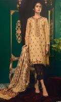 Dupatta: Khaddar Karandi With Mirror Work Finished Shirt: Khaddar Karandi Embroidered Thread Work Trouser: Dyed Marina